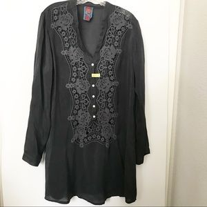 Johnny Was | Button Up V-neck Tunic Lace Dress